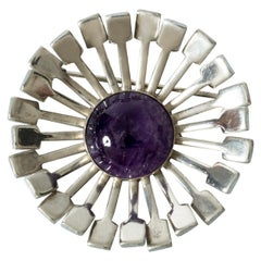 Modernist Silver and Amethyst Brooch from Victor Jansson, Sweden, 1971