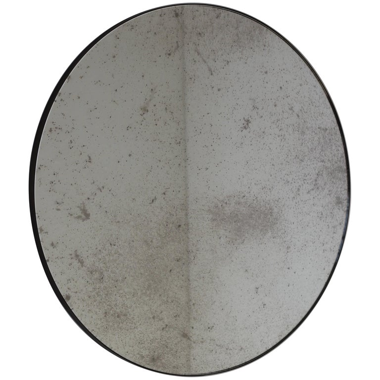 Modernist Silver Antiqued Orbis Round Mirror Brass Patinated Frame Customizable For Sale