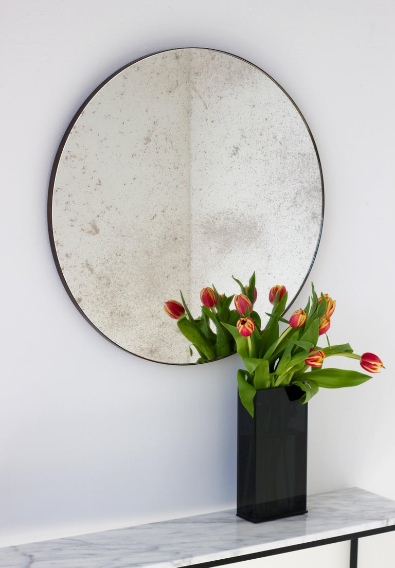 Organic Modern Modernist Silver Antiqued Orbis Round Mirror Brass Patinated Frame Customizable For Sale