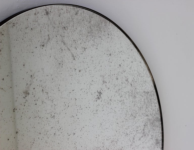 British Modernist Silver Antiqued Orbis Round Mirror Brass Patinated Frame Customizable For Sale
