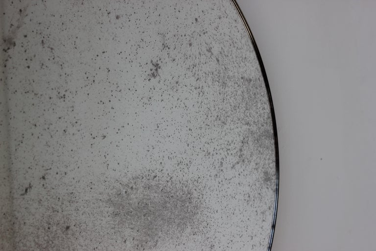 Modernist Silver Antiqued Orbis Round Mirror Brass Patinated Frame Customizable In New Condition For Sale In London, GB