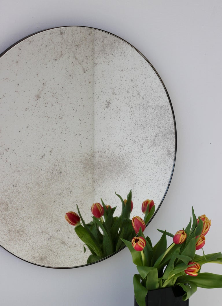 Modernist Silver Antiqued Orbis Round Mirror Brass Patinated Frame Customizable For Sale 1