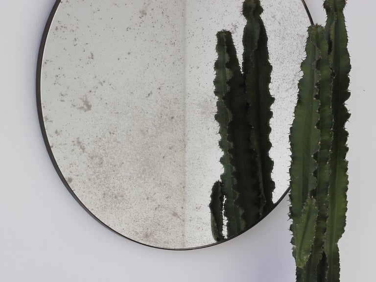 Modernist Silver Antiqued Orbis Round Mirror Brass Patinated Frame Customizable For Sale 2