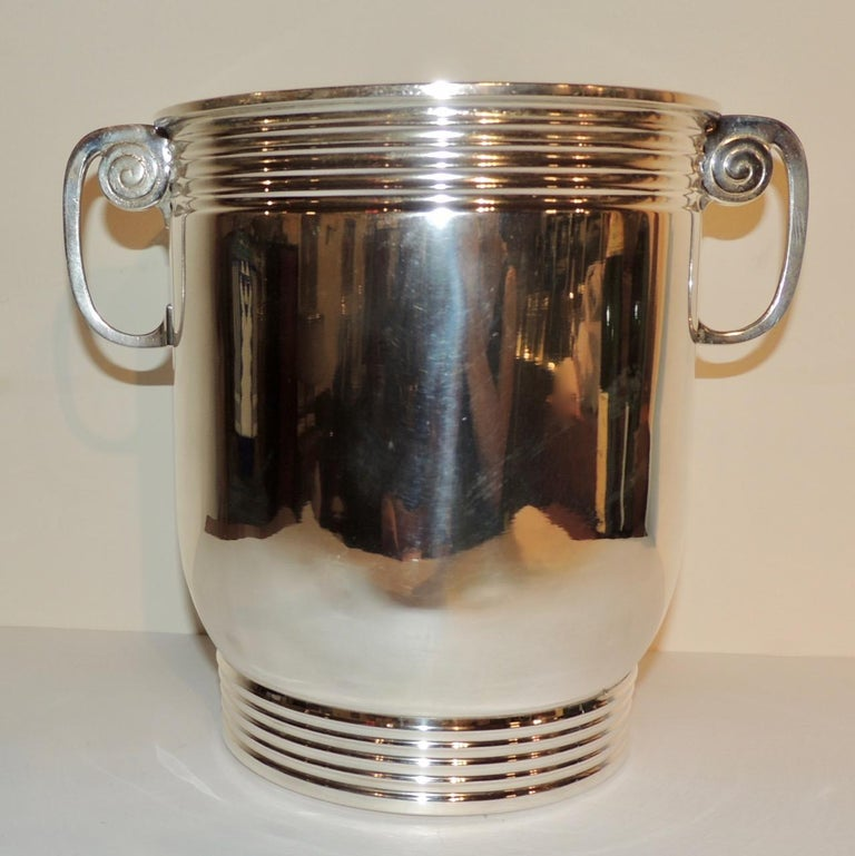 French Modernist Silver Champagne Cooler For Sale
