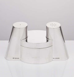Modernist Silver Cruet Set by Makers RJS London, 1981