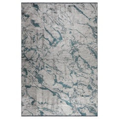 Modernist Silver Gray and Teal Abstract Marble Design Soft Semi-Plush Rug