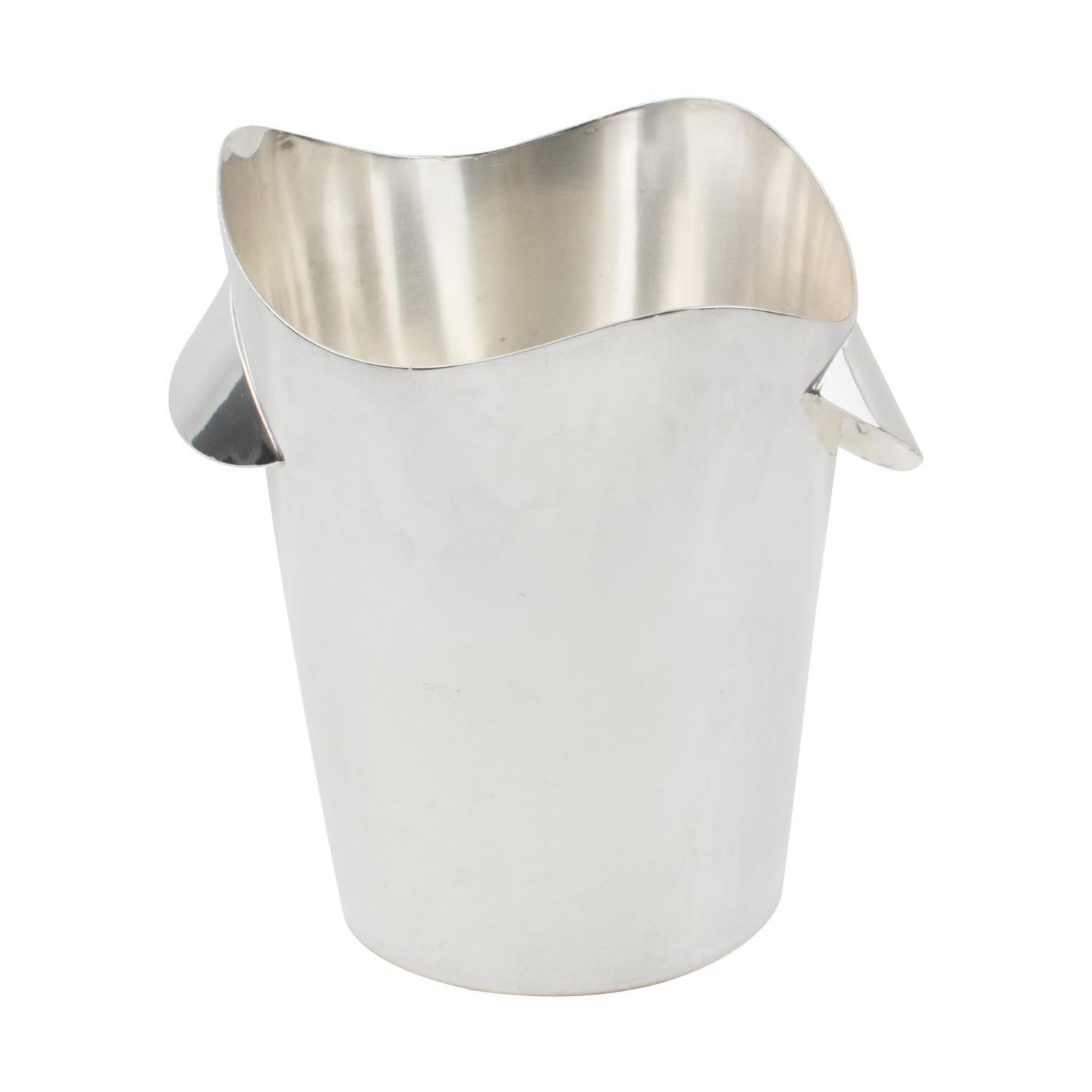 Modernist Silver Plate Champagne Ice Bucket Wine Cooler by Wiskemann