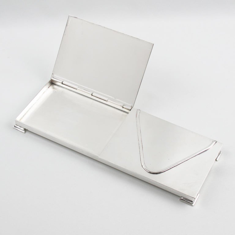 Mid-Century Modern Silver Plate 1960s Extra Long Box For Sale