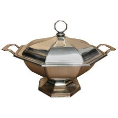 Modernist Silver Plated Octagonal Italian Soup Tureen, circa 1970