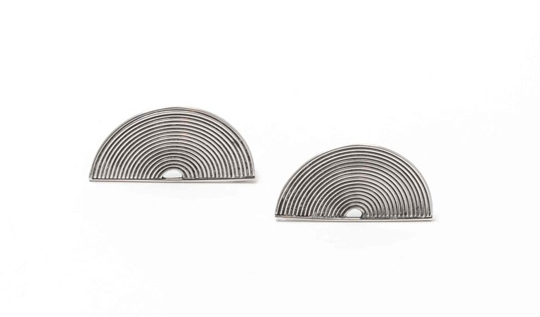 Modernist Silver Stud Earrings Scandinavia, 1970s In Excellent Condition For Sale In Oslo, NO