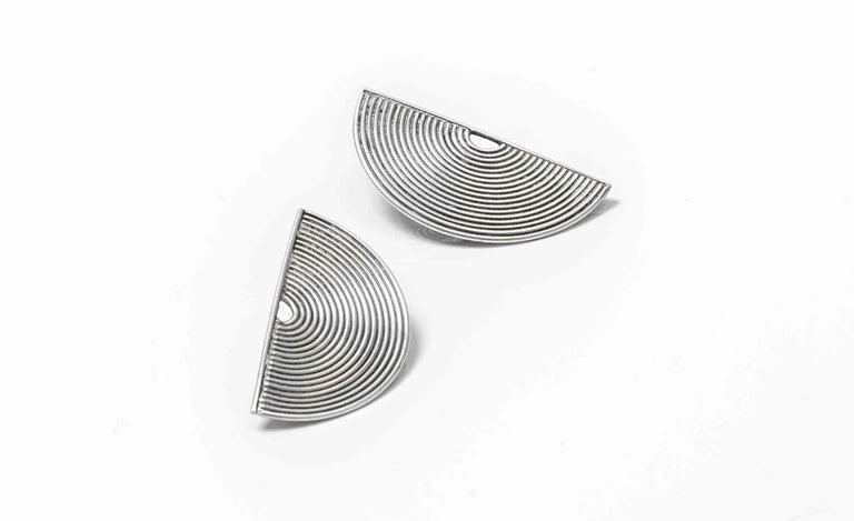 Women's Modernist Silver Stud Earrings Scandinavia, 1970s For Sale