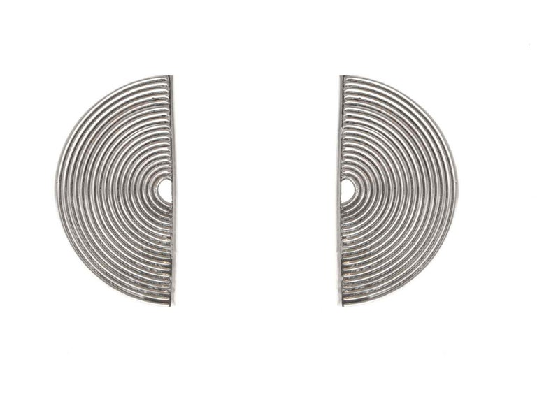 Modernist Silver Stud Earrings Scandinavia, 1970s For Sale 1