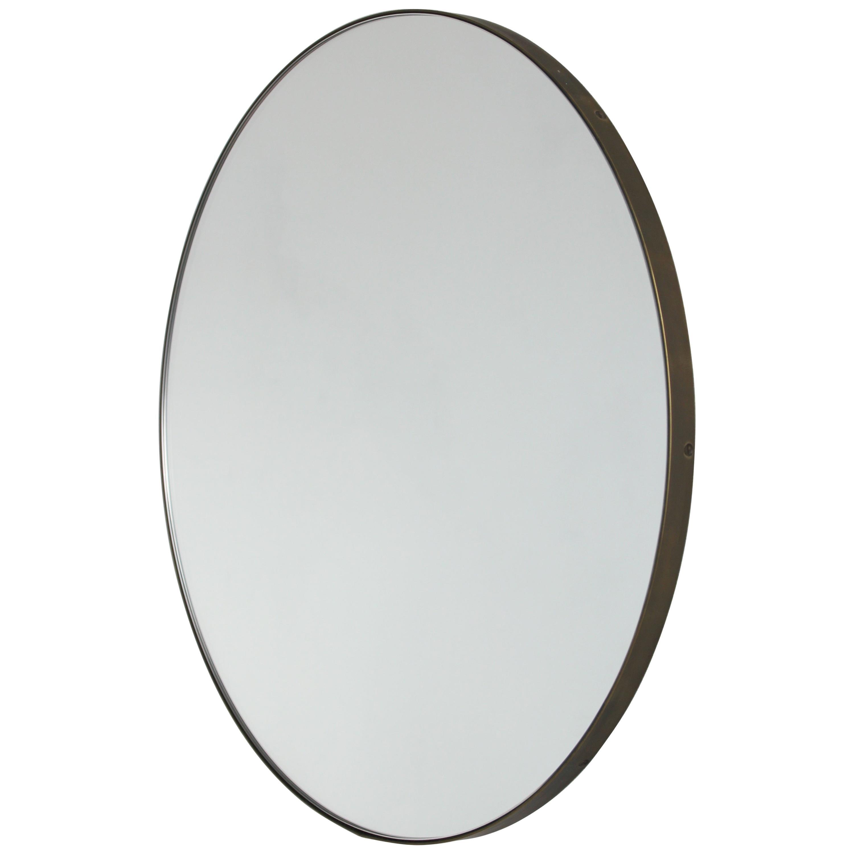 Orbis™ Round Modern Mirror with Brass frame with Bronze Patina - Medium
