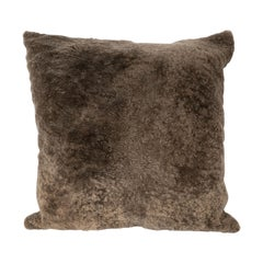 Modernist Slate Umber Square Pillow in Luxe Shearling and Suede