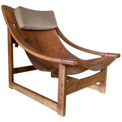 Modernist Sling Leather Lounge Chair