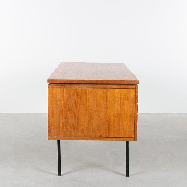 Mid-Century Modern Modernist Small Desk in Teak Veneer with Black Frame, Netherlands, 1960