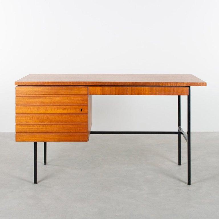 Dutch Modernist Small Desk in Teak Veneer with Black Frame, Netherlands, 1960