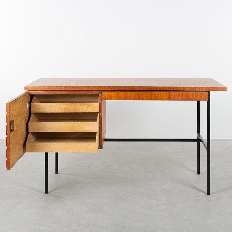 Modernist Small Desk in Teak Veneer with Black Frame, Netherlands, 1960 In Good Condition In Amsterdam, NL