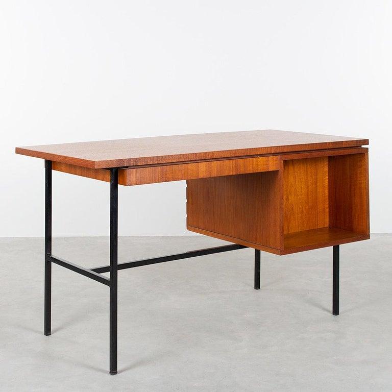 Mid-20th Century Modernist Small Desk in Teak Veneer with Black Frame, Netherlands, 1960