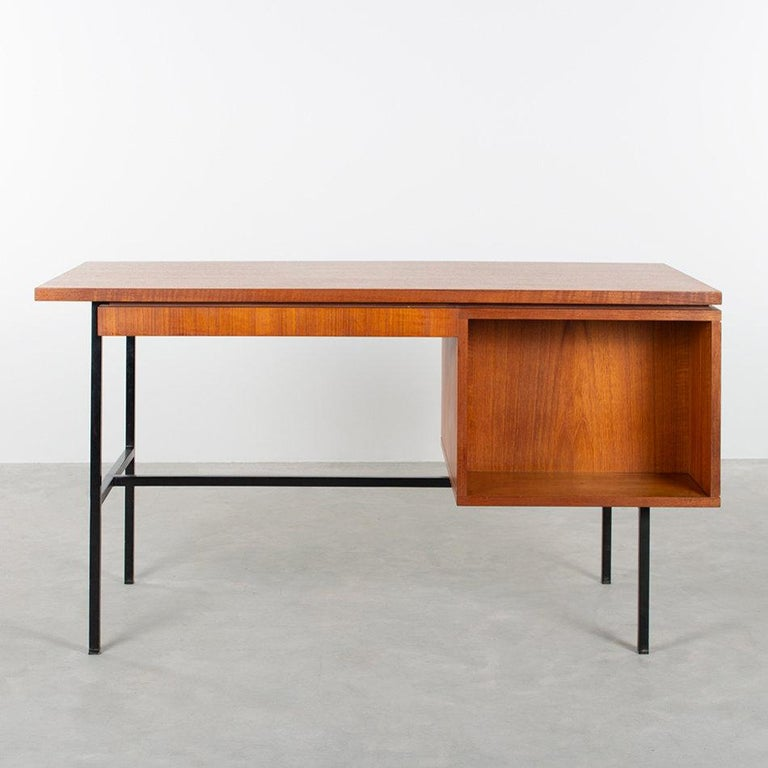 Steel Modernist Small Desk in Teak Veneer with Black Frame, Netherlands, 1960