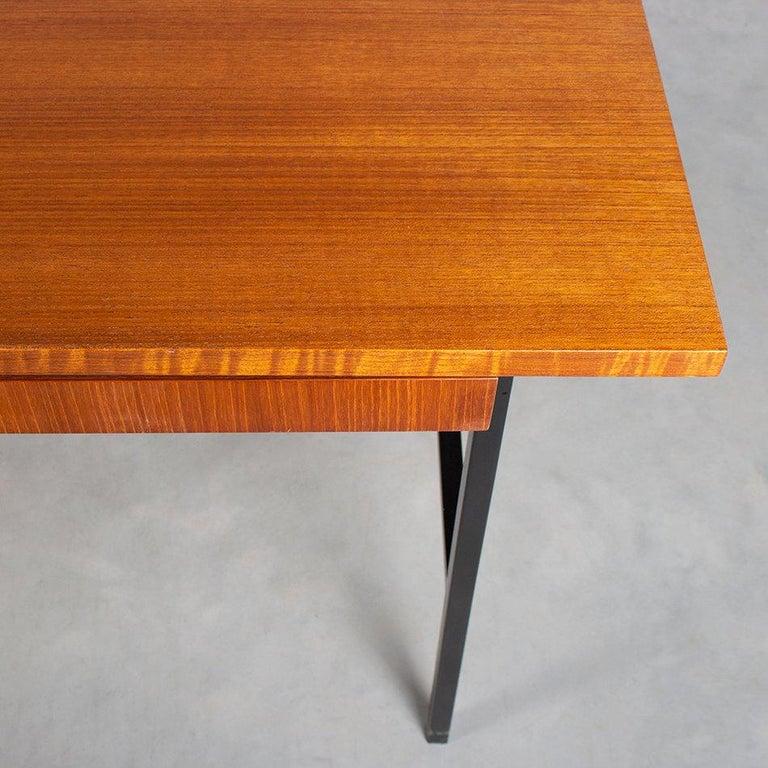 Modernist Small Desk in Teak Veneer with Black Frame, Netherlands, 1960 1
