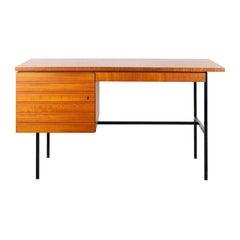 Modernist Small Desk in Teak Veneer with Black Frame, Netherlands, 1960