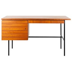 Modernist Small Desk in Teak Veneer with Black Frame, Netherlands, 1960
