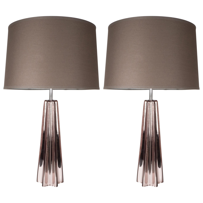 Modernist Smoked Amethyst Hand Blown Murano Mercury Glass Table Lamps