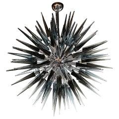 Modernist Smoked Grey Hand Blown Murano Glass Spiked Starburst Chandelier