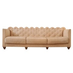 Modernist Sofa Upholstered in Grosgrain Cloth with Beech Frame