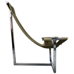 Modernist Space Age 1970s Polished Chrome Sling Lounge Chair