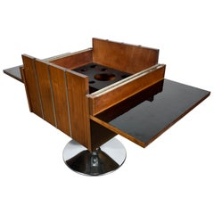 Modernist, Space Age Walnut and Chrome Folding, Revolving Bar by LANE