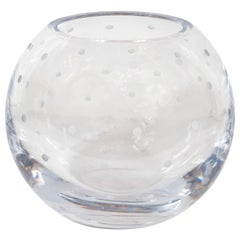 Modernist Spherical Etched and Dotted Translucent Decorative Bowl