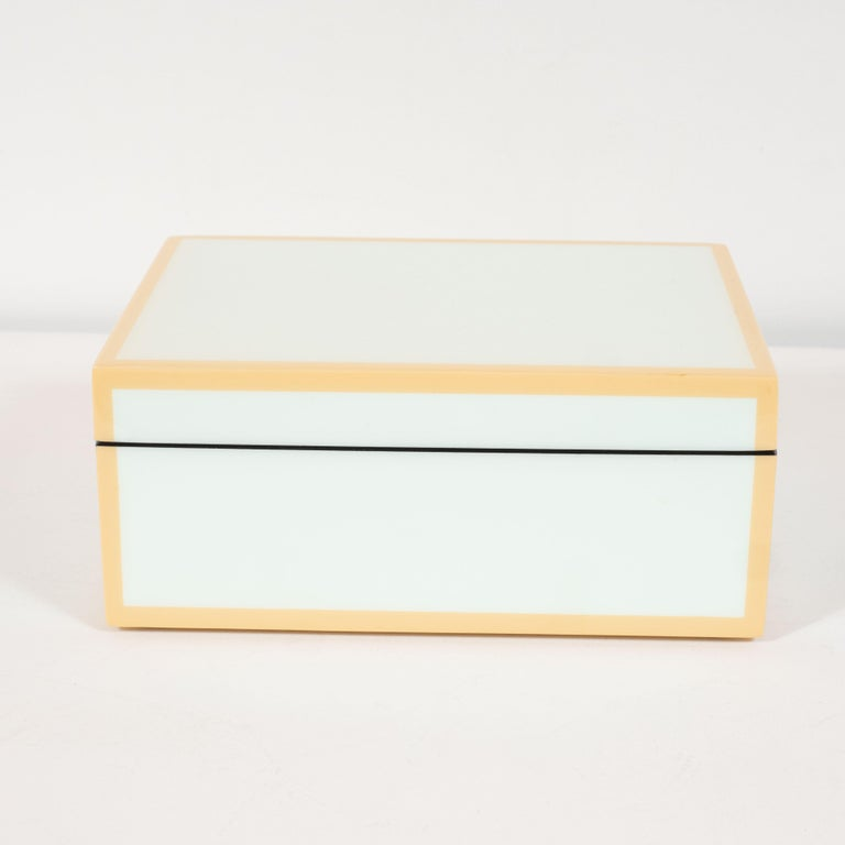 Philippine Modernist Square Lacquered Rectangular Box in Pale Celadon with Tan Accents For Sale