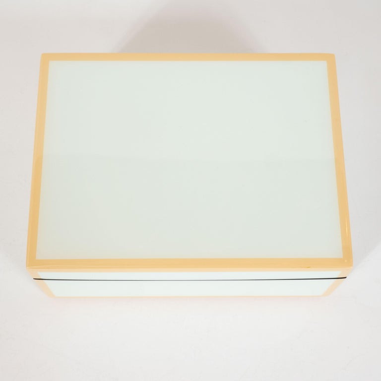 Modernist Square Lacquered Rectangular Box in Pale Celadon with Tan Accents In Excellent Condition For Sale In New York, NY