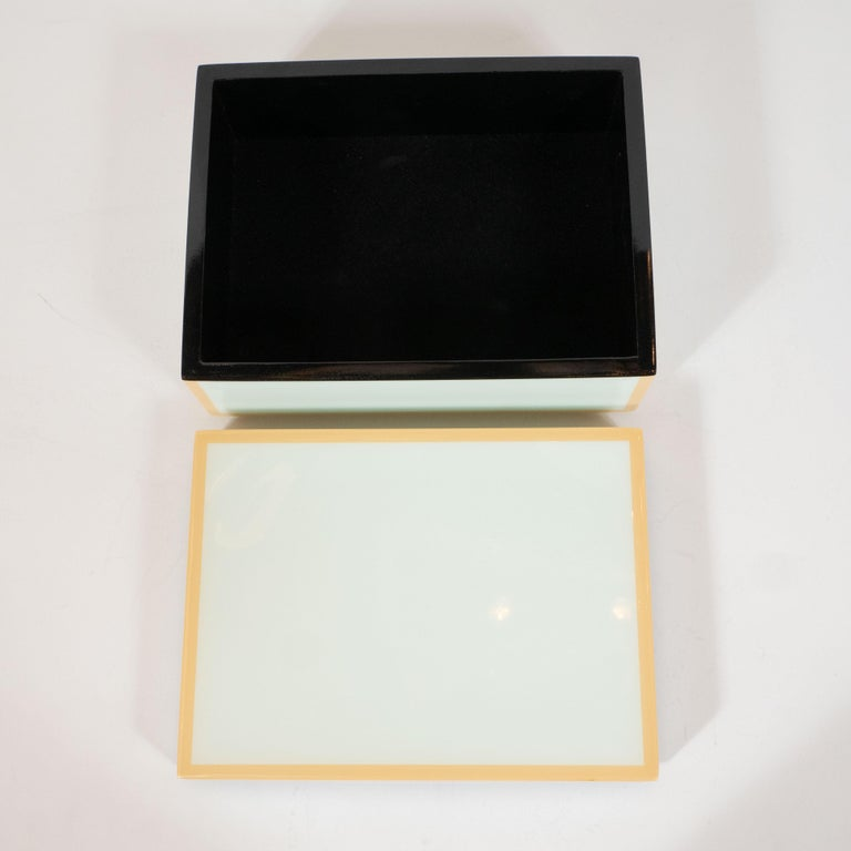 20th Century Modernist Square Lacquered Rectangular Box in Pale Celadon with Tan Accents For Sale