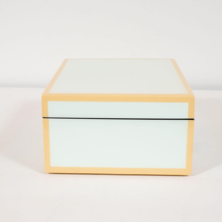 Fruitwood Modernist Square Lacquered Rectangular Box in Pale Celadon with Tan Accents For Sale