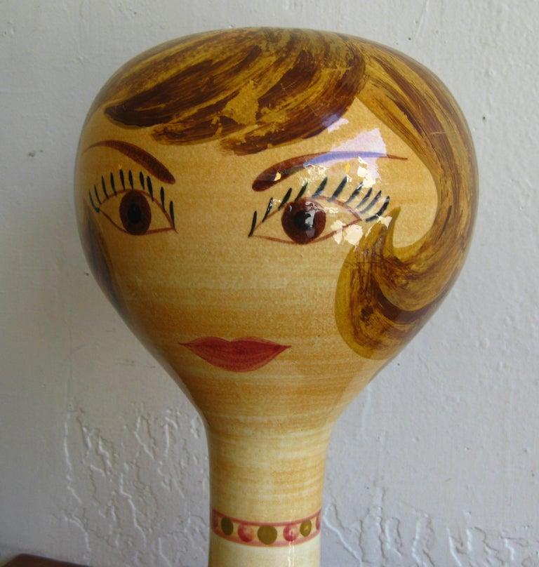 Exquisite vintage original Stangl ceramic art pottery mannequin head wig Stand measures 13.5