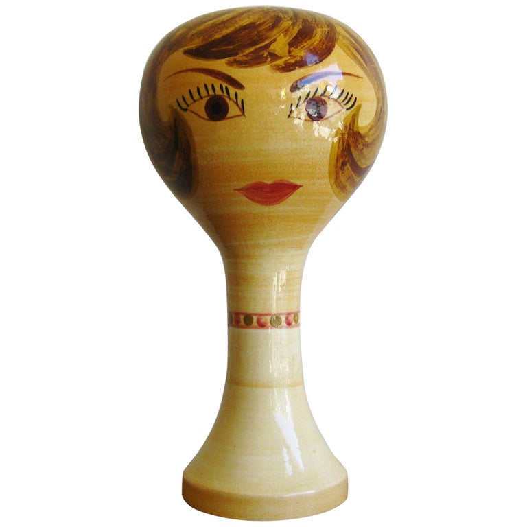 Modernist Stangl Pottery Mannequin Head Wig Stand Store Display Sculpture For Sale