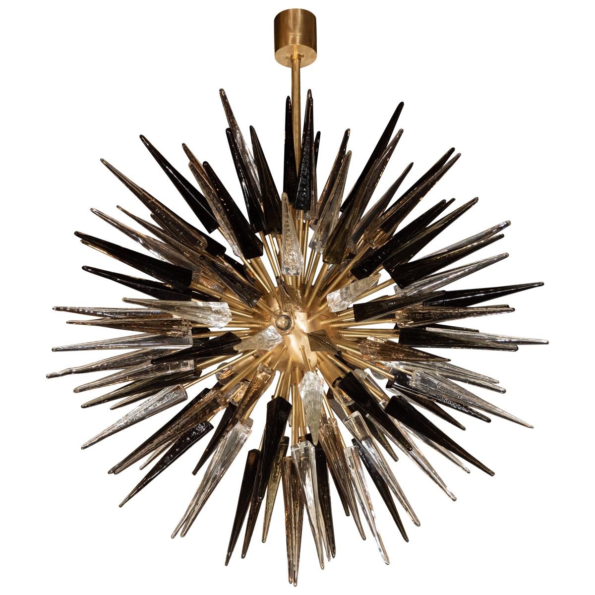 Modernist Starburst Chandelier with Clear, Smoked and Graphite Glass Obelisks