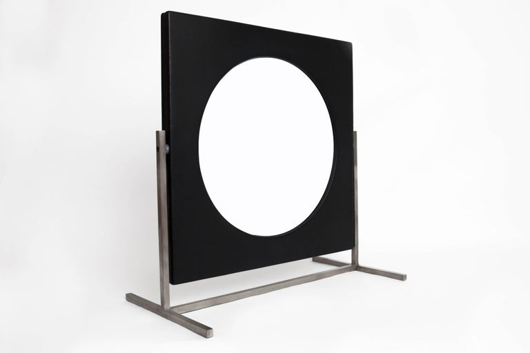 Mid-Century Modern Modernist Steel and Leather Table or Vanity Mirror, France 1960's For Sale