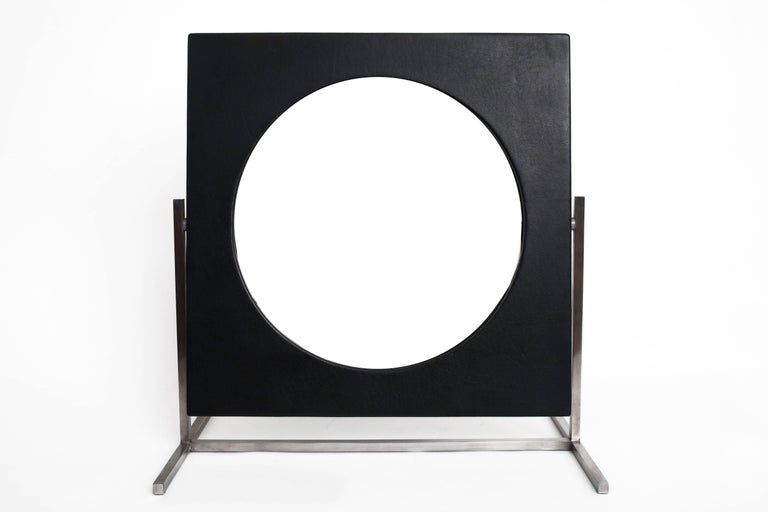 Modernist Steel and Leather Table or Vanity Mirror, France 1960's In Excellent Condition For Sale In New York, NY
