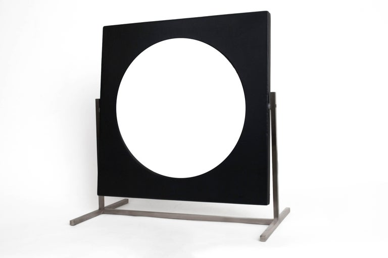 Mid-20th Century Modernist Steel and Leather Table or Vanity Mirror, France 1960's For Sale