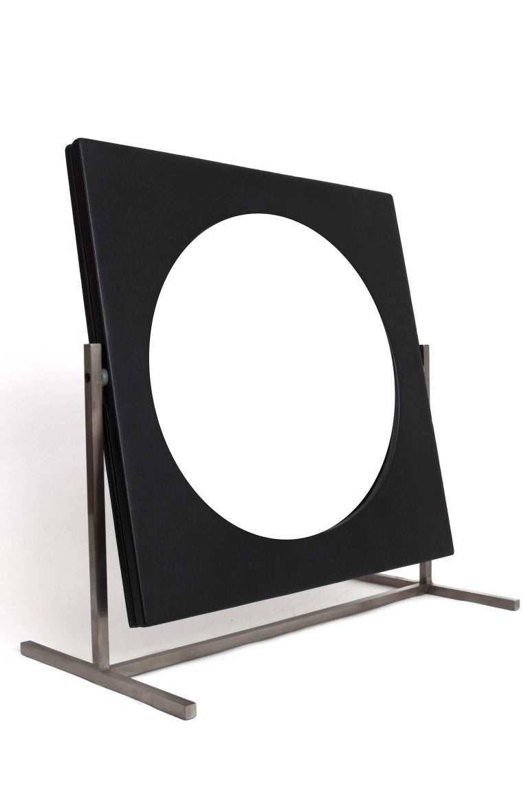 Modernist Steel and Leather Table or Vanity Mirror, France 1960's For Sale 1