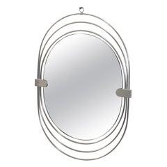 Modernist Steel Chrome Wall Mirror by Gaetano Sciolari 1970s Smoke Glass