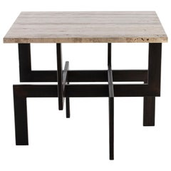 Modernist Steel Ebony Side Table with Silver Travertine Top