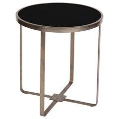 Modernist Steel Round Black Glass Table, France, 1940s