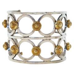 Modernist Steel Statement Cuff Bracelet with Gilded Details, circa 1970s