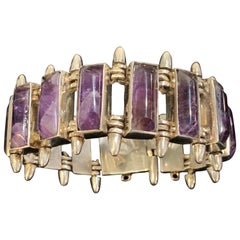Modernist Sterling and Amethyst Bracelet Signed Antonio Pineda, circa 1960
