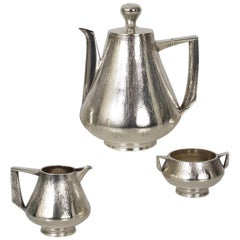 Modernist Sterling Silver 3-Piece Tea or Coffee Service by Peter Lunn, London